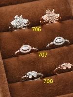 แหวนเพชรชุบทองคำขาว 18K สีเงิน