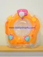 ห่วงคอว่ายน้ำเด็กเล็ก มีกระพรวนด้านใน มีที่จับด้านบนซ้ายขวา,ที่ล๊อกคอสามารถปรับเลื่อนได้ เป่าลมสองชั้น(สีส้ม)