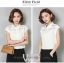 Preorder เสื้อทำงาน สีขาว คอปก แขนล้ำ แต่งซีทรูเป็นลายขวางเก๋ๆ thumbnail 6