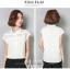 Preorder เสื้อทำงาน สีขาว คอปก แขนล้ำ แต่งซีทรูเป็นลายขวางเก๋ๆ thumbnail 2