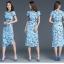 Pre-order ชุดทำงาน เดรสเรียบร้อย สีฟ้า Blue Floral dress คัตติ้งสวยเนี้ยบ มีไซส์ใหญ่ S - XXL thumbnail 2