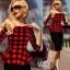 Pre-order ชุดทำงาน ชุดแซกลายตาราง สีแดงดำ Check Peplum dress มีไซส์ใหญ่ S - XXL thumbnail 2