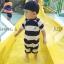 ชุดว่ายน้ำเด็กชาย บอดี้สูท สีน้ำเงิน ขาว ลายขวาง ลายเรือใบสีฟ้า ป้องกัน UV thumbnail 1