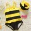 ชุดว่ายน้ำเด็ก ลายผึ้ง สีเหลืองดำ พร้อมหมวก thumbnail 2