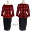 Pre-order ชุดทำงาน ชุดแซกลายตาราง สีแดงดำ Check Peplum dress มีไซส์ใหญ่ S - XXL thumbnail 3