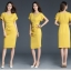 Pre-order ชุดแซกทำงาน สีเหลือง Honey Yellow dress แพทเทิร์นเรียบเก๋ ใส่สบายสุดๆ มีไซส์ใหญ่ S - XXL thumbnail 6