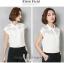 Preorder เสื้อทำงาน สีขาว คอปก แขนล้ำ แต่งซีทรูเป็นลายขวางเก๋ๆ thumbnail 10