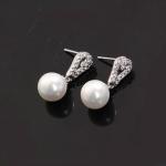 ต่างหูทองคำขาวเพชรสวิส รหัส20607