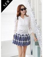 เสื้อผ้าแฟชั่น set 3 ชิ้น เสื้อลูกไม้สีขาว + สายเดี่ยวซับใน + กระโปรง สวยครบเซ็ตมากๆ ครับ