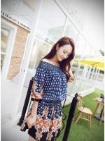 ชุดเดรสสั้น แฟชั่นเกาหลี ผ้าฝ้าย สีน้ำเงิน พิมพ์ลาย แขนยาว ไหล่ผ้าถัก มียางยืดด้านใน เอวและปลายแขนเสื้อจั๊ม