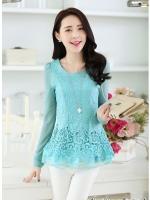 แฟชั่นเกาหลีราคาถูก เสื้อตัวยาว ผ้าลูกไม้ สีฟ้าอมเขียว ชายเสื้อ ฉลุลายดอกไม้ แขนยาว