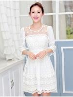 ชุดเดรสเกาหลี เดรสผ้าไหมแก้ว organza สีขาว ปักด้วยด้ายลายดอกไม้ สวยมากๆ
