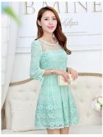 ชุดเดรสสั้น แฟชั่นเกาหลี ผ้าไหมแก้ว organza สีเขียว ปักด้วยด้ายลายดอกไม้ สวยมากๆ