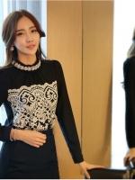เสื้อผ้าคอตตอนผสม แฟชั่นเกาหลี สีดำ ยืดหยุ่นได้ แขนยาว ประดับ มุกสีขาว คริสตรัลใสสวยเก๋มากๆ