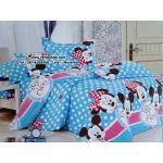 เซตผ้าปูที่นอน ลายมิกกี้เม้าส์ และมินนี่เม้าส์ (Micky & Minnie mouse) สีฟ้า ขนาด 6 ฟุต 5 ชิ้น + ผ้านวมหนา เกรด B