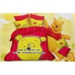 ชุดผ้าปูที่นอนลายการ์ตูน 6 ฟุต 5 ชิ้นพร้อมนวมหนา ลายหมีพูห์(Pooh)