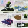 (Pre Order) รองเท้าผ้าใบ แฟชั่นเกาหลี ตกแต่งลายดาว สีสะท้อนแสง สไตล์หวาน (สีดำ / สีน้ำเงิน / สีฟ้า)