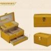 (preorder)กล่องใส่เครื่องประดับ princess European ขนาด 21.5*16.5*12.5 cm หนังเรียบ สีเหลืองขมิ้น