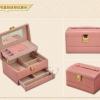 (preorder)กล่องใส่เครื่องประดับ princess European ขนาด 21.5*16.5*12.5 cm หนังเรียบ สีชมพูเข้ม