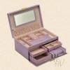(preorder)กล่องใส่เครื่องประดับ princess European 2in1 ขนาด 28*19*13.5 cm หนังเรียบ สีม่วง