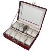 (preorder)กล่องใส่นาฬิกา ขนาด 25.7*21*7.5 cm หนังจระเข้ PVC สีน้ำตาล
