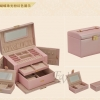(preorder)กล่องใส่เครื่องประดับ princess European 2in1 ขนาด 23.5*15.5*16 cm หนังเรียบ สีชมพู