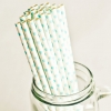 Paper Straws in White & Baby Blue Polka Dots