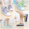 (Pre Order) รองเท้าผ้าใบ ตกแต่งลายสก๊อตและผ้าลูกไม้ สไตล์เกาหลี (สีฟ้า / สีน้ำเงิน / สีเทาอ่อน)