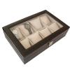(preorder)กล่องใส่นาฬิกา กล่องไม้หุ้มหนังจระเข้ PVC ขนาด 32*22*8.5 cm สีดำ