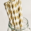 Paper Straws in Metallic Dark Gold