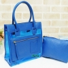 พร้อมส่ง HB-5371-สีฟ้า กระเป๋าพลาสติกใส- Messenger-design