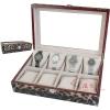 (preorder)กล่องใส่นาฬิกา กล่องไม้หุ้มหนังจระเข้ PVC ขนาด 32*22*8.5 cm ลายเสือ