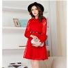 ชุดเดรสสวยๆ ผ้าลูกไม้ถัก สีแดง แขนยาว ผ้านิ่มยืดหยุ่นได้ดี
