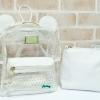 พร้อมส่ง HB-5353-สีขาว กระเป๋าเป้พลาสติกใส-Mickey-design-เป็นได้ทั้งเป้และสะพาย