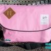 พร้อมส่ง DB-3319-สีชมพู กระเป๋าสะพายผ้า polyester-เนื้อหนาสไตล์ Anello ไซร์ใหญ่ 11 นิ้ว