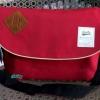 พร้อมส่ง DB-3319-สีแดง กระเป๋าสะพายผ้า polyester-เนื้อหนาสไตล์ Anello ไซร์ใหญ่ 11 นิ้ว