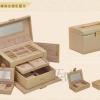 (preorder)กล่องใส่เครื่องประดับ princess European  2in1 ขนาด 23.5*15.5*16 cm หนังเรียบ สีครีม