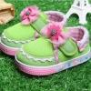 รองเท้าเด็กหัดเดินติดโบว์ สีเขียว 5 คู่/แพ็ค