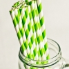 Paper Straws in Bright Green & White Stripes