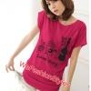 เสื้อยืดแฟชั่น ผ้านุ่ม ลาย น้องหมา Love Song สีชมพูบานเย็น