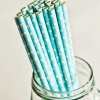 Paper Straws in Baby Blue & White Polka Dots