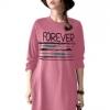 เสื้อยืดตัวยาว /แซกสั้น ผ้านุ่ม แขนยาว ลาย Forever (สีโอรส)