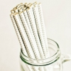 Paper Straws in Metallic Silver & White Chevron Stripes