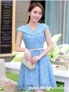 ชุดเดรส ชุดเดรสเจ้าหญิง แสนหวาน ตัวชุดผ้าลูกไม้สีฟ้า คอเสื้อเสื้อหยัก แต่งผ้าถ่วงคลุมไหล่และแขน สวยมากๆ