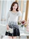 ชุดเดรสเกาหลีออกงาน ตัวเสื้อผ้าถักสีขาว แขนยาว กระโปรงผ้าชีฟองสีดำ พร้อมสร้อยคอ