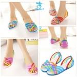 (Pre Order) รองเท้าแฟชั่นเกาหลี สีสันสดใส ต้อนรับลมร้อน (สีฟ้า/สีม่วง/สีแดง)