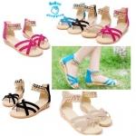 (Pre Order) รองเท้าลำลอง แฟชั่นเกาหลี ตกแต่งข้อเท้าสไตล์โรมัน (สีดำ/สีน้ำเงิน/สีแดง/สีครีม)