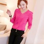 เสื้อแฟชั่น เสื้อเกาหลี เสื้อทำงาน คอวี ประดับกระดุมด้านหน้า3เม็ด กระเป๋าหน้า ผ้าชีฟอง เสื้อสีบานเย็น สวยมากๆ (พร้อมส่ง)