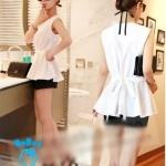 (Pre Order) เสื้อแขนกุดชีฟอง แฟชั่นเกาหลี คอกลม ชายเสื้อระบาย ผูกโบว์ที่เอวด้านหลัง (สีดำ,สีขาว,สีชมพู)