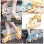 (Pre Order) รองเท้าแตะ แฟชั่นเกาหลี สไตล์โบฮิเมียน ซิปด้านหลัง (สีเหลือง/สีครีม/สีน้ำเงิน)